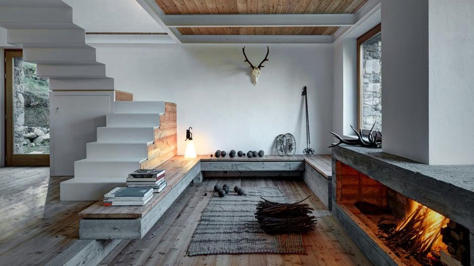 Lärchenholz, Sichtbeton und Stahl: Blick ins Wohnzimmer