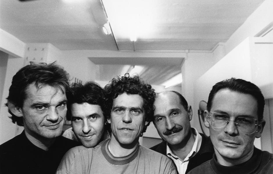 Gruppe Pentagon 1989, v.l.n.r.: Ralph Sommer, Wolfgang Laubersheimer, Reinhard Müller, Gerd Arens, Meyer Voggenreiter, Foto: Wolfgang Burat