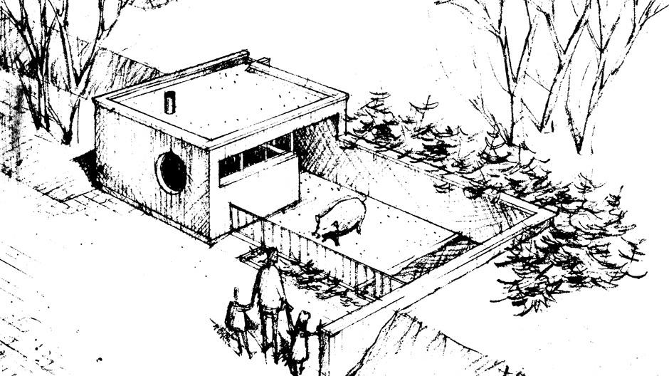 Zeichnung des Schweinestalls von Walter Gropius/ The Architects Collaborative (TAC), Ende der sechziger Jahre. Abbildung: Rosenthal
