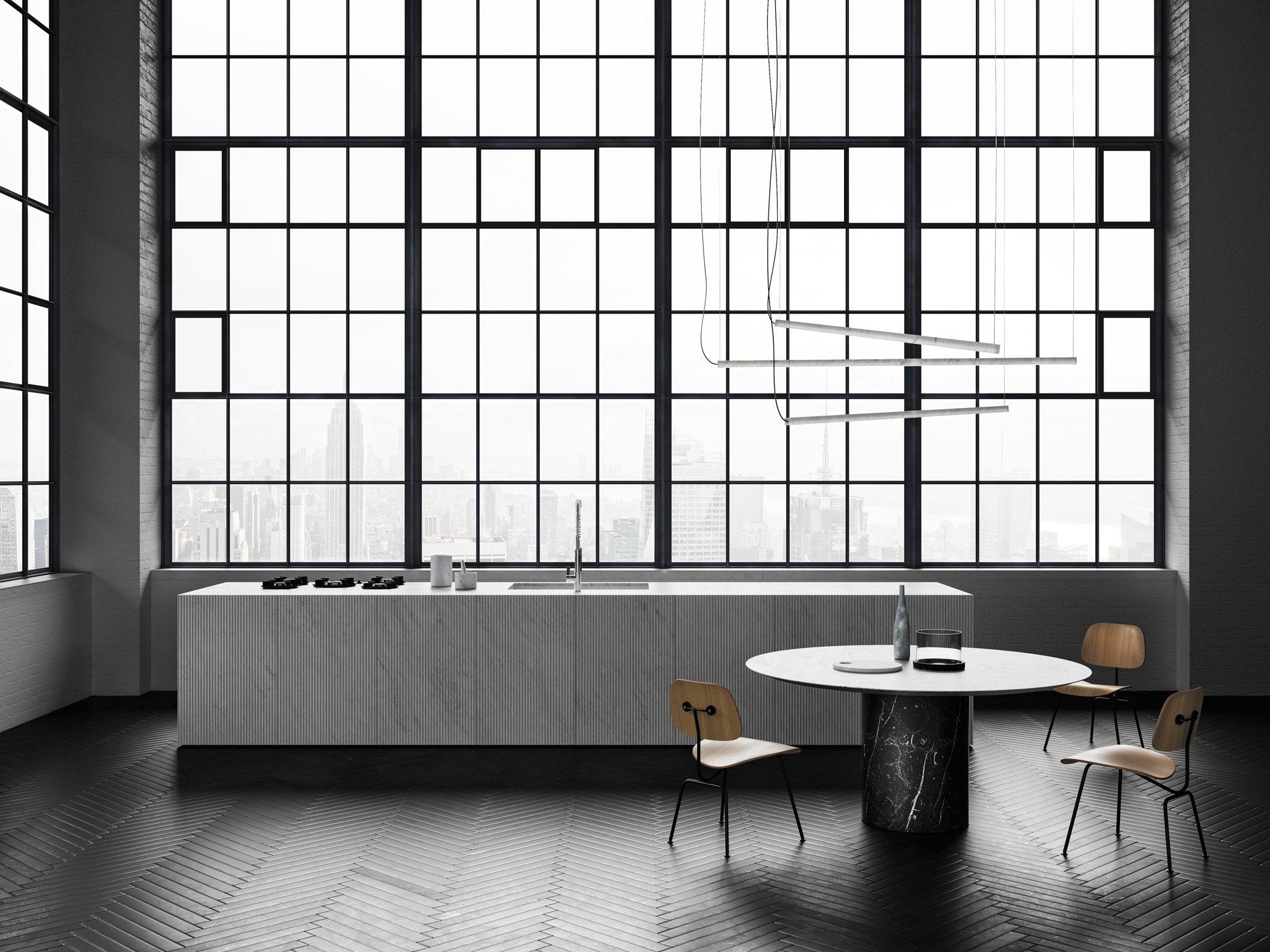 Der italienische Hersteller Salvatori hat sich auf Natursteine wie Marmor, Sand- und Kalkstein spezialisiert. Die Wand- und Bodenelemente, die von Designern wie Piero Lissoni entworfen werden, kommen vorzugsweise in der Küche und im Bad zum Einsatz und wirken immer edel und elegant. Foto/Copyright: Salvatori