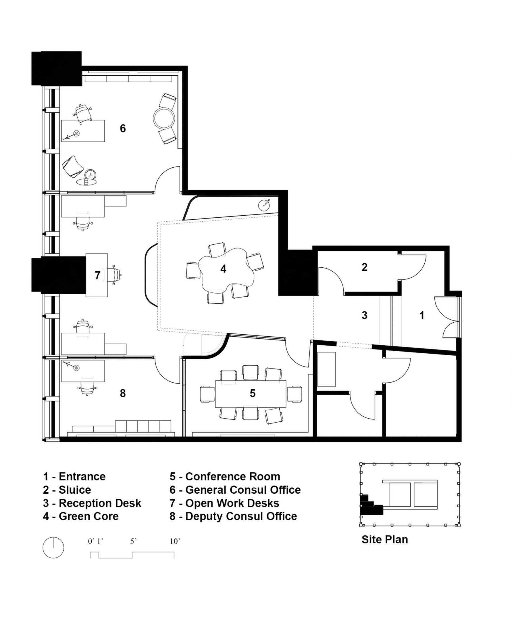 Grundriss des Schweizer Konsulats.Visualisierung: HHF Architekten + Kwong Von Glnow