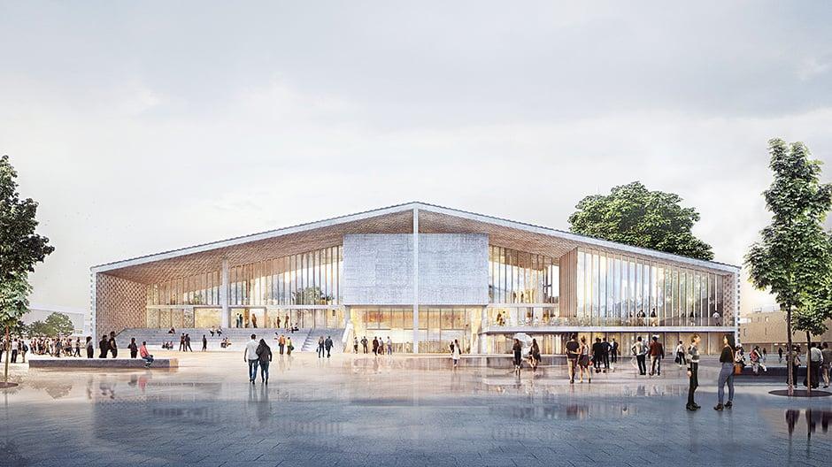 Stand der Planungen für das Museum des 20. Jahrhunderts am Kulturforum, Herbst 2018. Fassade Nordeingang, Scharounplatz: Die großflächig verglaste Fassade zum Scharounplatz wirkt einladend und verbindet das Museum mit dem umgebenden Stadtraum.
