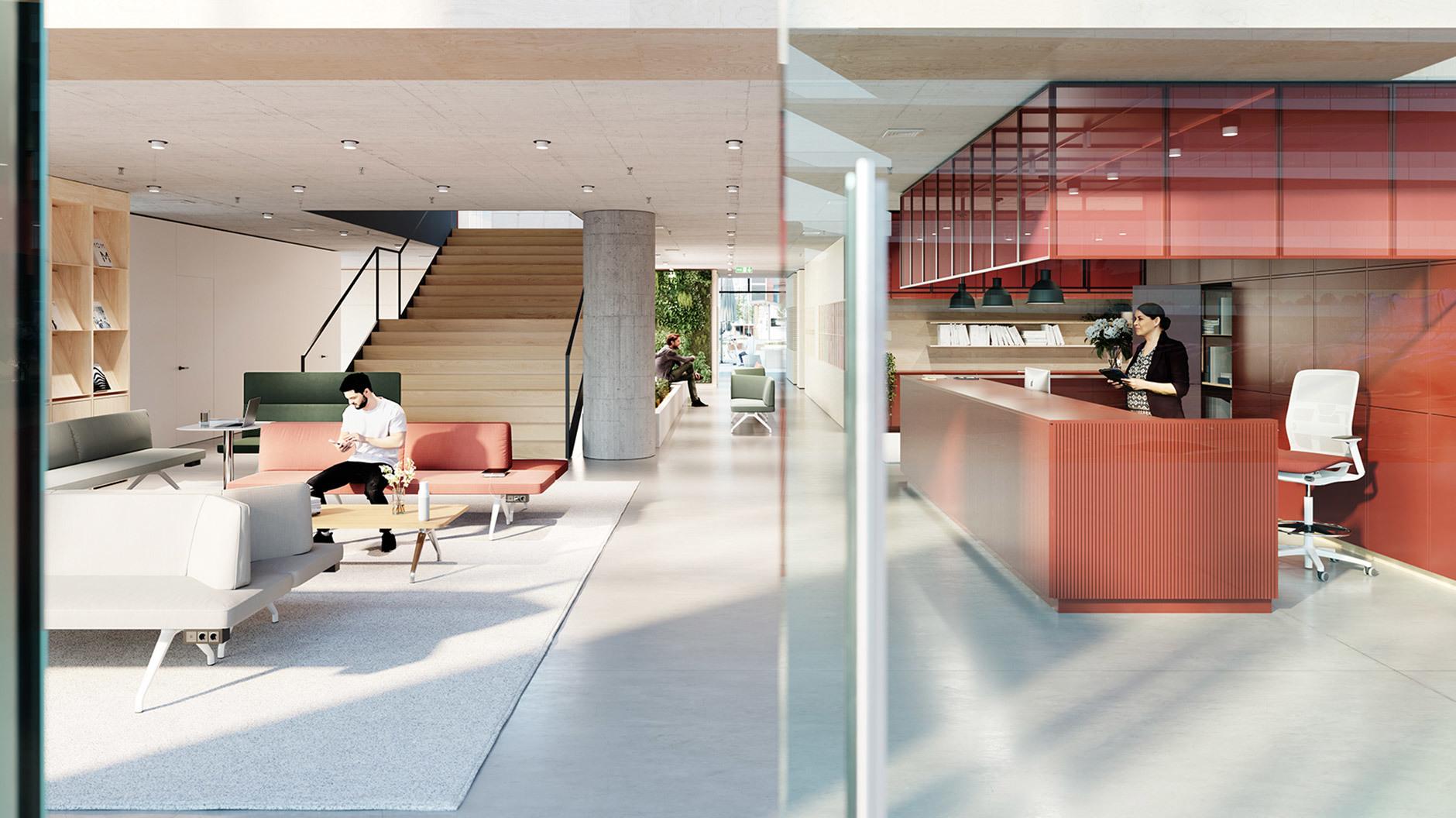 Im Erdgeschoss liegt der halböffentliche Innovations- und Kollaborationsbereich.
