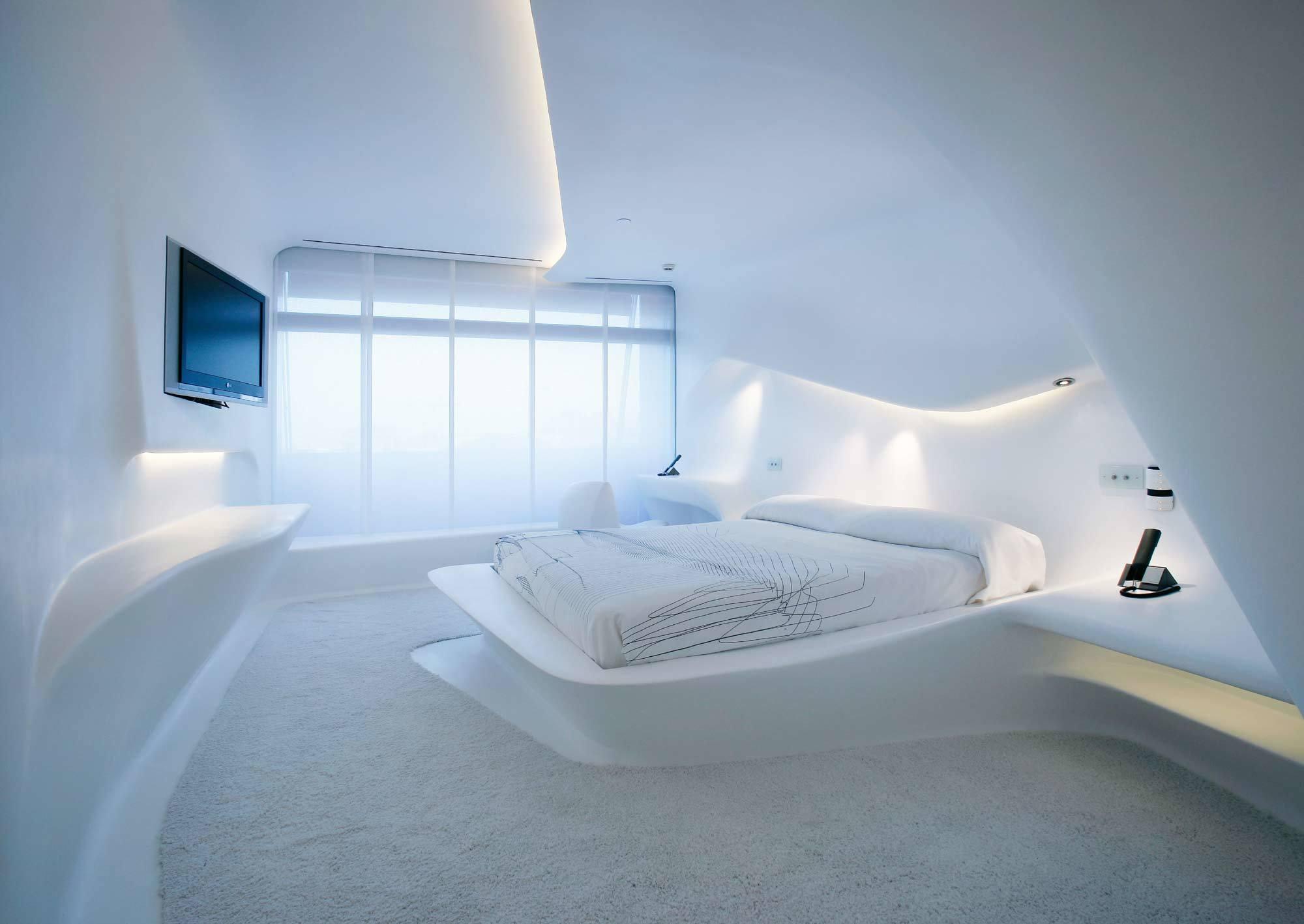 Zimmergestaltung im Hotel Puerta America von Zaha Hadid Architects, Madrid (2005), Foto: Hotel Silken