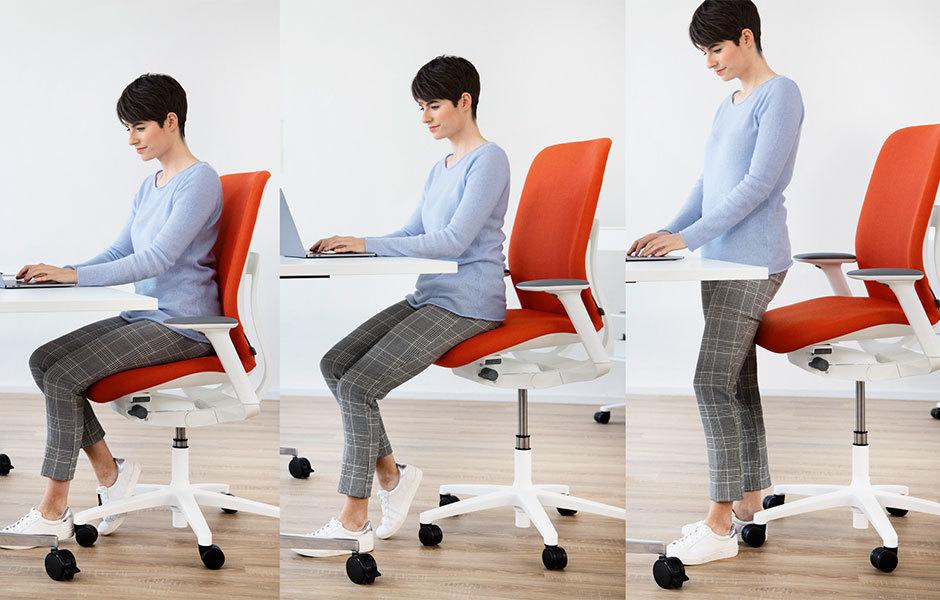 Sitzen oder stehen? Der AT Esp aus der Bürostuhlprogramm AT mit erhöhter Sitzposition (ESP).