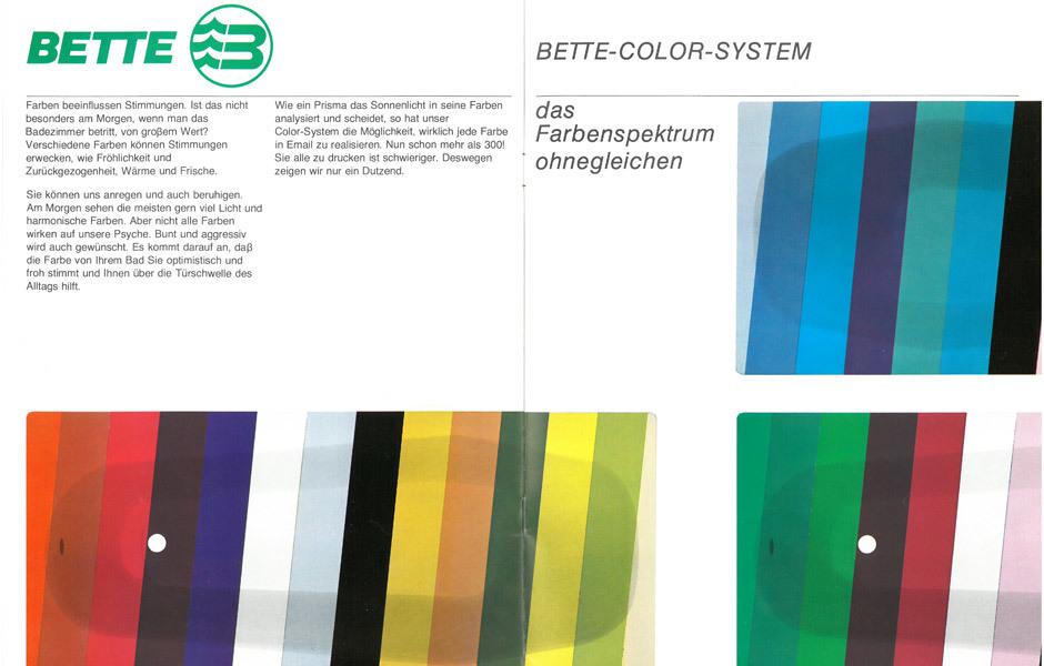 Farbgeschichte(n): Prospekt von Bette aus dem Jahr 1984. Foto/ Copyright: Bette