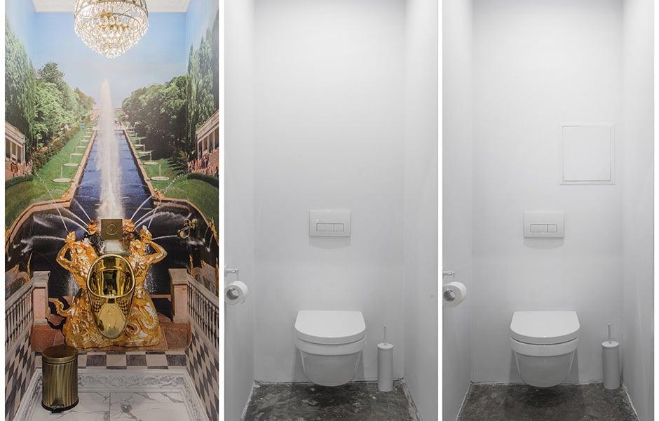 Goldene Zeiten: In der Toilette findet sich ein humoristischer Kommentar zur jüngsten Geschichte der Ukraine.