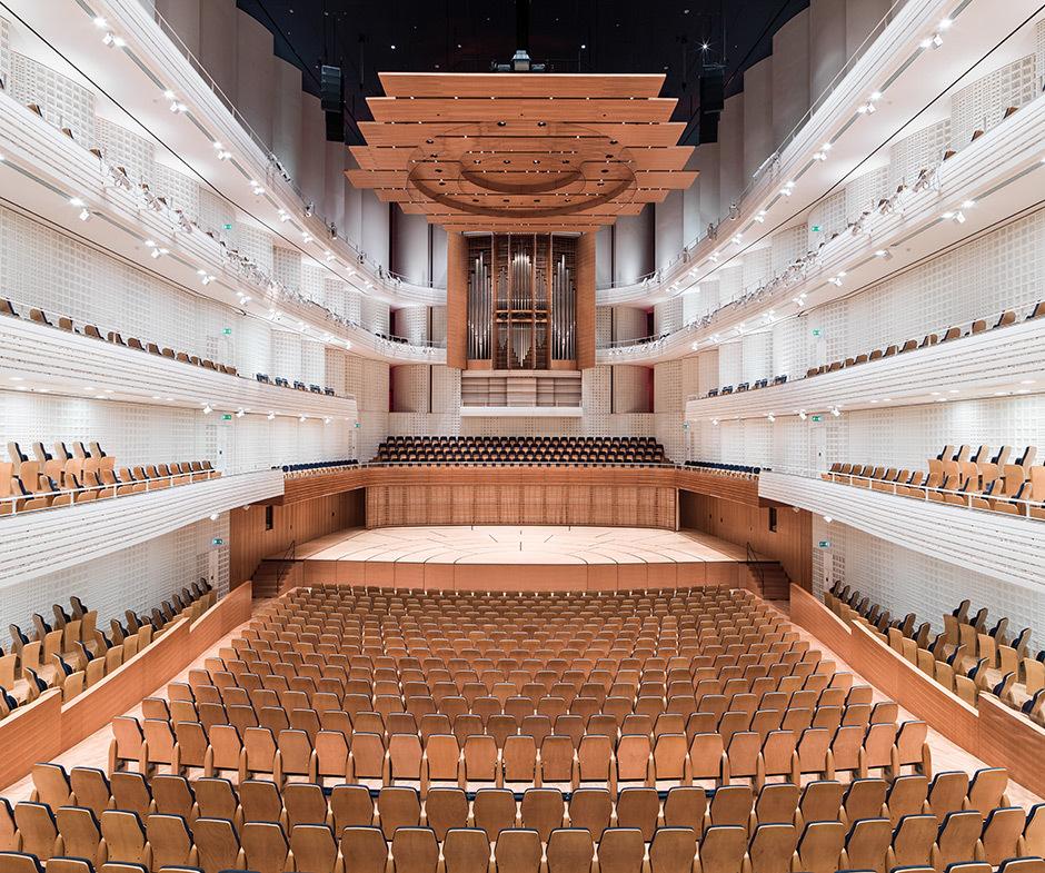 Blick in das Herzstück des KKL Luzern von Jean Nouvel: der Konzertsaal