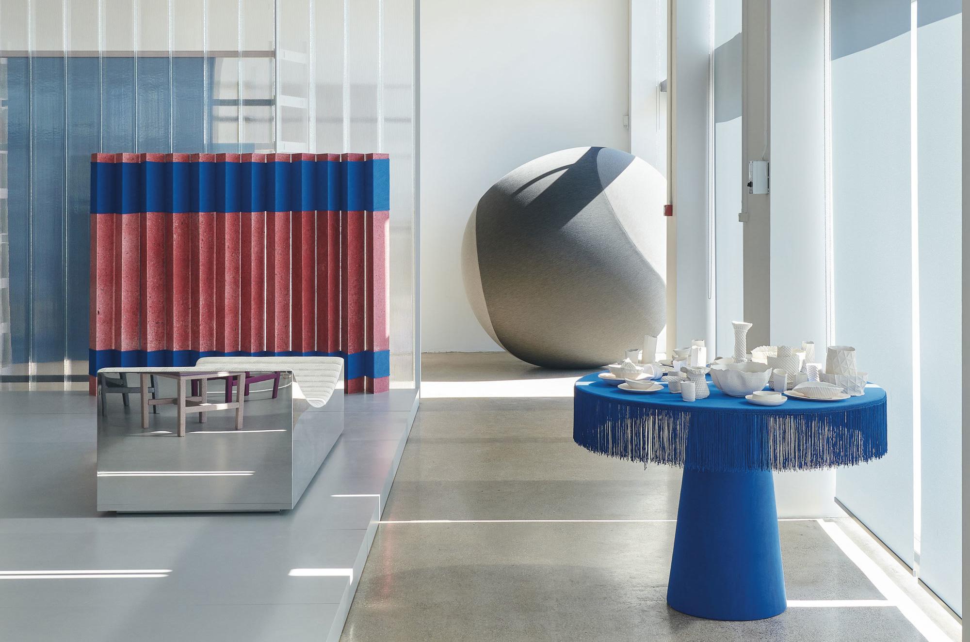Installation Knit Project im Showroom von Kvadrat in Nordhavn. Foto: Benjamin Lund/ knit.kvadrat.dk