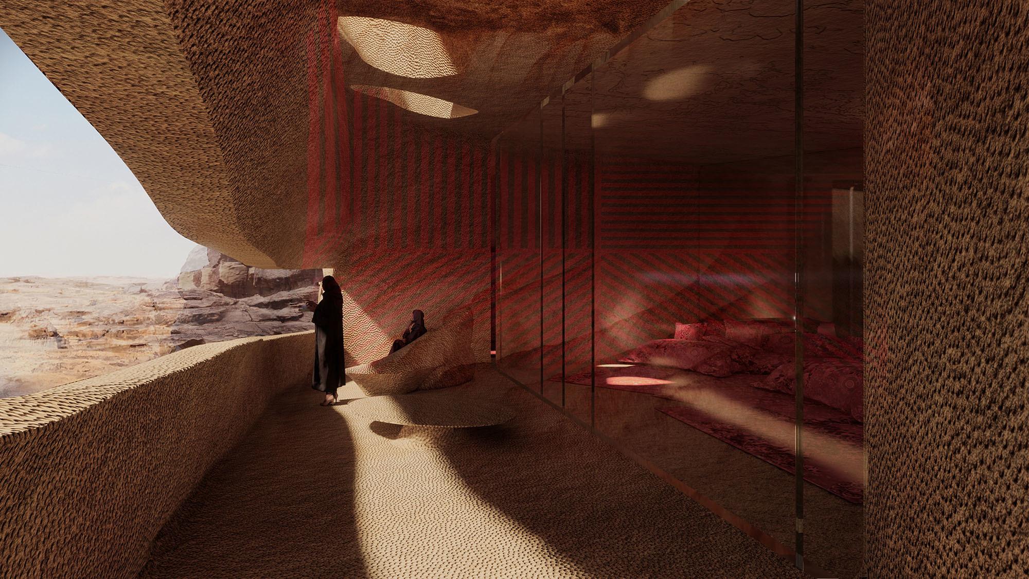 Die natürlichen Einhöhlungen werden weiter in den Felsen hineingetrieben, sodass sie horizontale Schlitze bilden. Sie öffnen die dahinter liegenden Suiten nach draußen – zum Tageslicht und zur Aussicht.