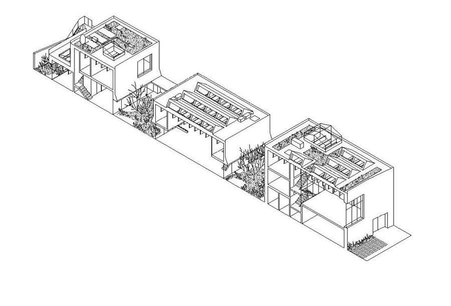 6a architects denken das Studio auf dem 60 Meter langen, aber nur sieben Meter breiten Grundstück in Schichten und Sequenzen.