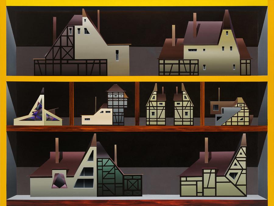 Titus Schade, Regal I, 2012, Öl und Acryl auf Leinwand, 150 x 200 Zentimeter, Foto: Uwe Walter, © der Künstler und courtesy Galerie EIGEN + ART Leipzig/Berlin, VG Bild-Kunst, Bonn 2018