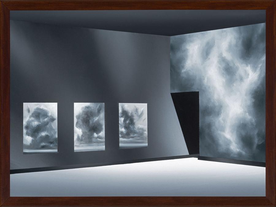Titus Schade, Die Wolkenausstellung, 2017, Öl und Acryl auf Leinwand, 30 x 40 Zentimeter, Foto: Uwe Walter, © der Künstler und courtesy Galerie EIGEN + ART Leipzig/Berlin, VG Bild-Kunst, Bonn 2018