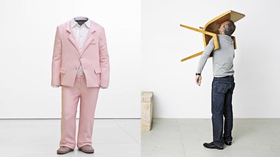 Erwin Wurm: Big Suit, 2010, Aluminium, Farbe (links) / Erwin Wurm: Idiot II, 2010, Fotos: Studio Erwin Wurm, © Bildrecht, Vienna 2017