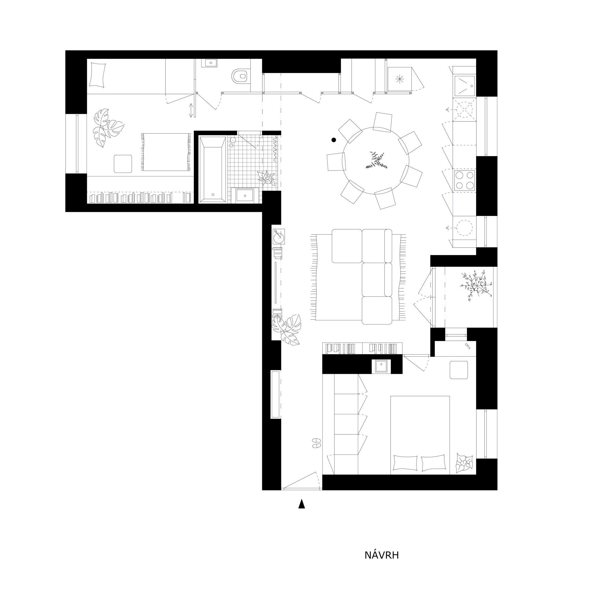 Die Architekten von Kilo Honč haben das Apartment in ein familientaugliches Loft verwandelt.