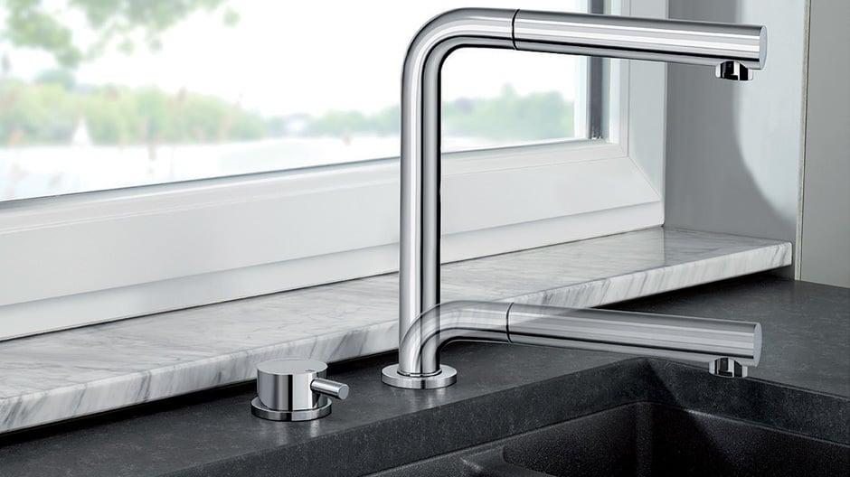 Und auch diese Armatur lässt sich elegant versenken: Blanco Periscope S-F-II.