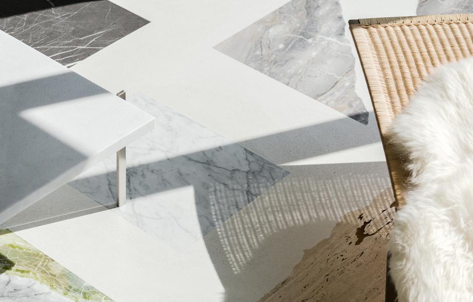 Etwa zwei Zentimeter dicke Stücke aus Marmor, Granit und Travertin bilden das grafische Muster des Terrazzobodens.
