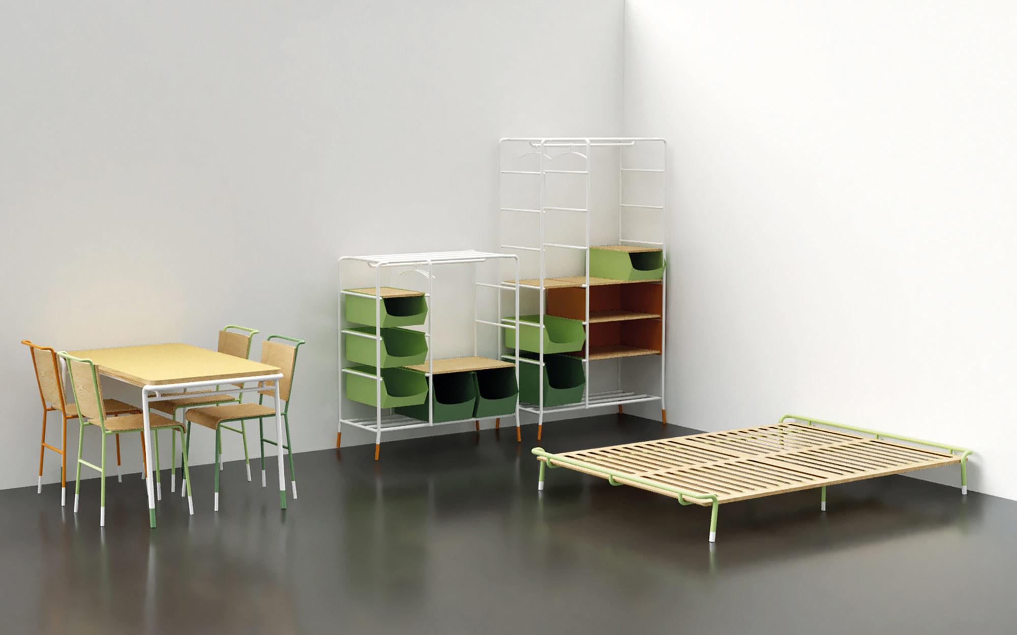 Tisch, Stuhl, Regal und Bett: Diese Möbel sind Teil des Projekts Kulturkonfektvon Eileen Krüger