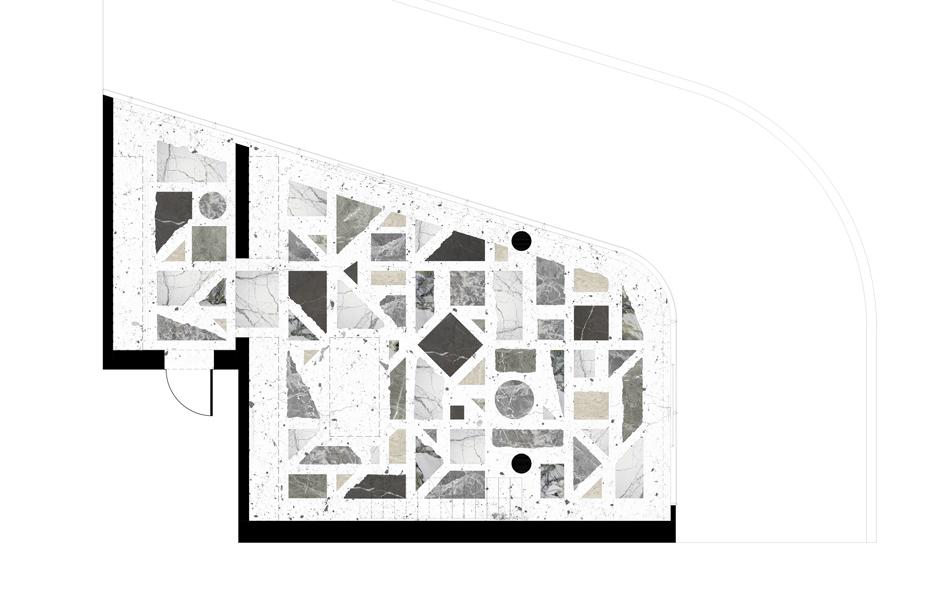 Das Terrazzo-Puzzle im Überblick: Der Grundriss des Wohnbereichs zeigt die genaue Positionierung der geometrisch geformten Natursteinstücke – mit Aussparungen für Einbauschränke und die Kücheninsel.