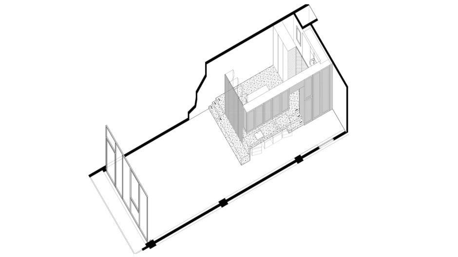 Axonometrie des Apartmentumbaus