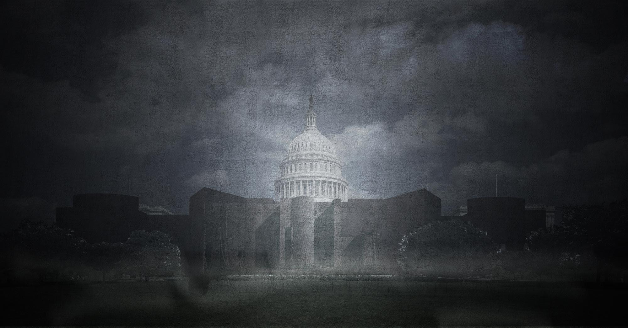 """""""Demokratie ist keine Festung! Der einzige Schutz von Demokratie liegt in gesellschaftlicher Gerechtigkeit, fairen Lebensbedingungen, fairen Löhnen und echter sozialer Perspektive!"""", schreibt Benedikt Hartl über seinen Entwurf Capitol Castle. Visualisierung: Opposite Office"""