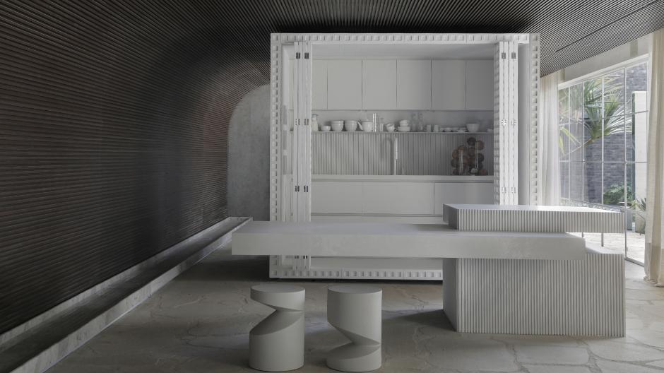 Der brasilianische Architekt Nildo José gestaltete mit der Casa Dende Duratex ein Musterhaus, dessen Mittelpunkt eine luftige Funktionsbox mit Bad und Küche bildet. Foto: Denilson Machado