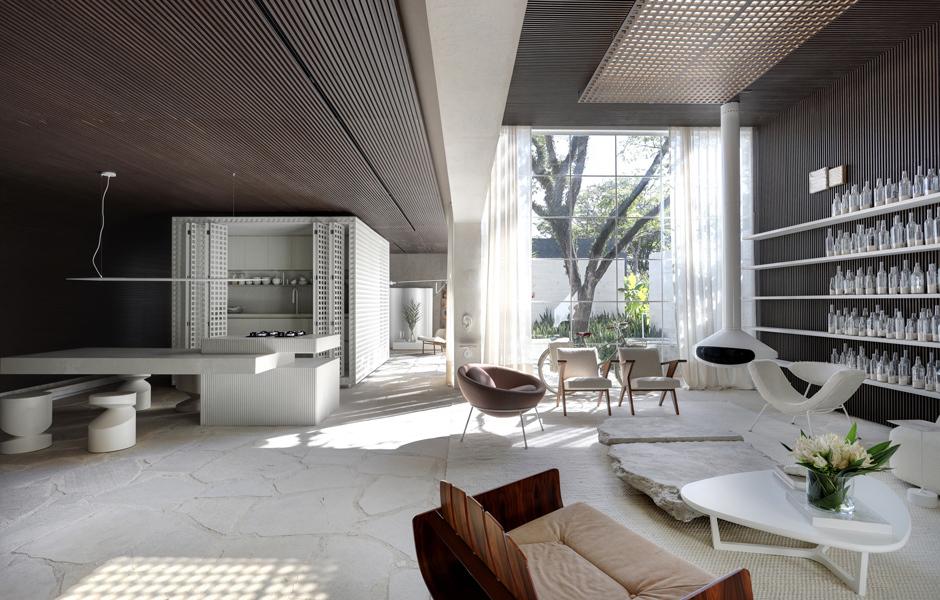 Für eine Ausstellung zu Architektur, Interieur und Landschaftsbau in São Paolo konzipierte er ein lichtdurchflutetes Musterhaus, das Bezug auf seine Heimat Bahia, ein Bundesstaat im Nordosten Brasiliens, nimmt. Foto: Marco Antonio