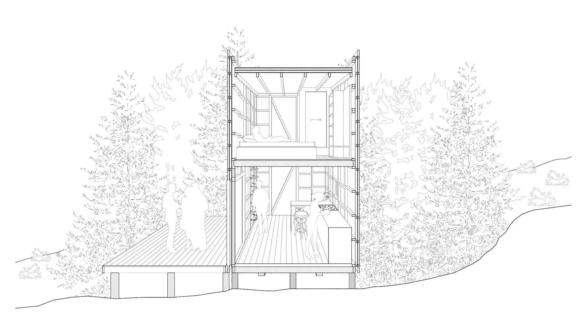 Neun Quadratmeter Grundfläche und zwei Etagen bietet das Refugio, in diesem beschränkten Raum haben die Architekten sogar ein kleines Bad eingeplant.