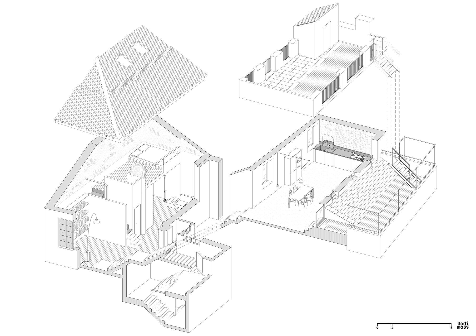 Die Axometrie offenbart die Piranesi-artigen Raumwindungen. © Dodi Moss Architekten