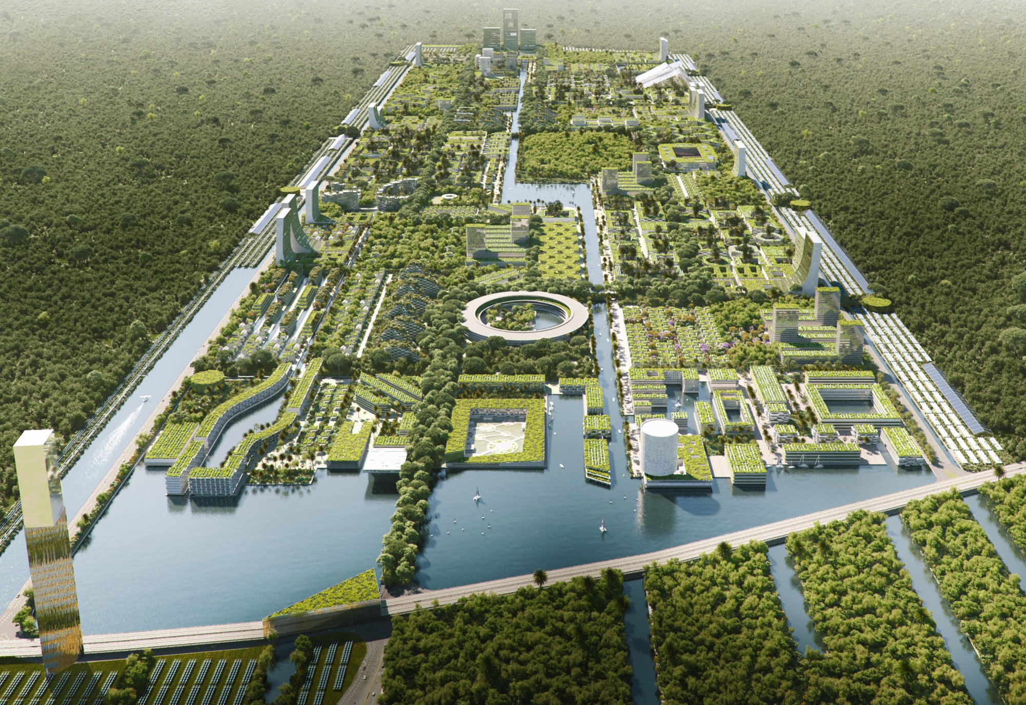 Smart Forest City Cancun, Projekt ab 2019, Rendering: Stefano Boeri Architetti