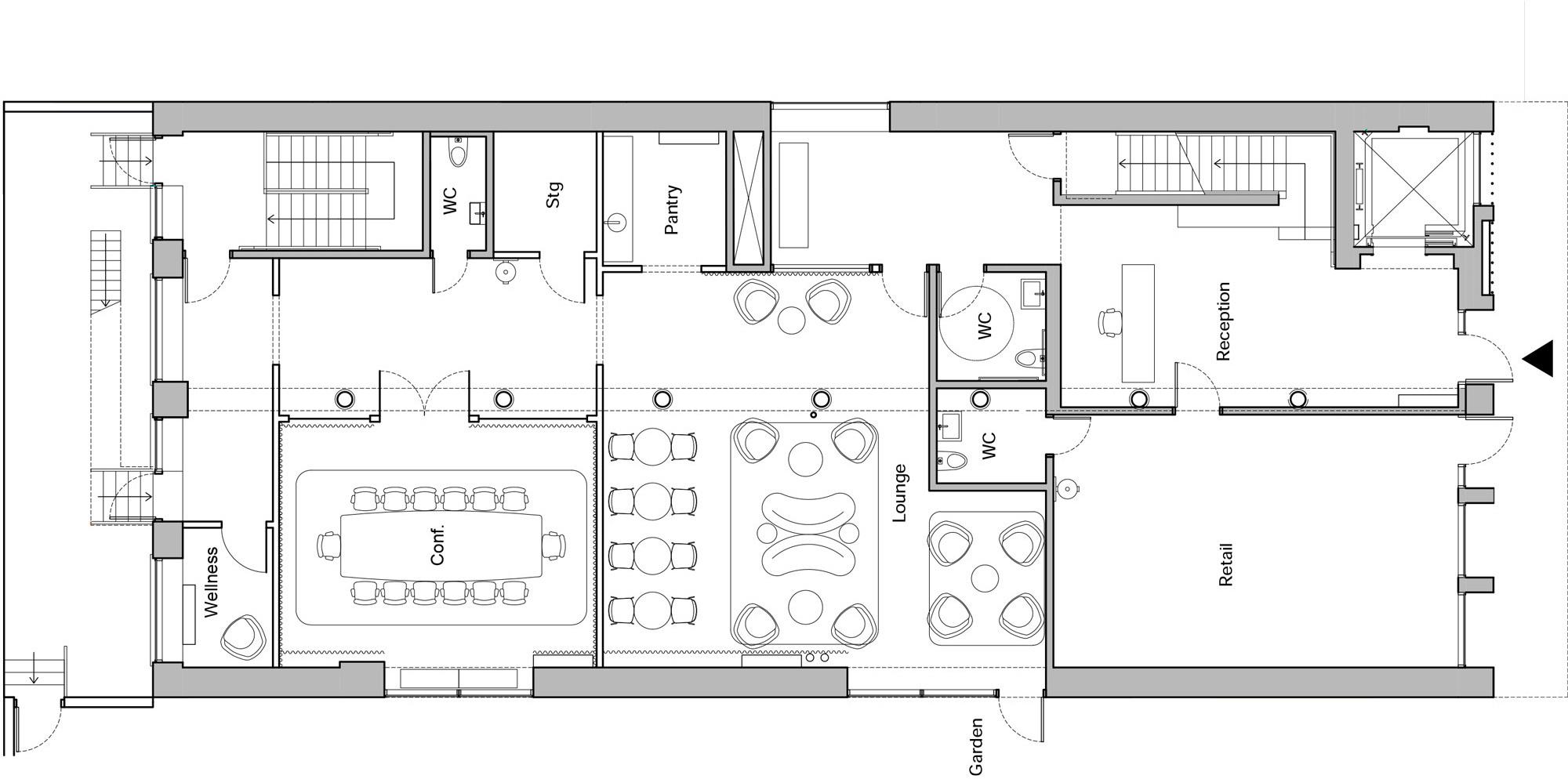 Erdgeschoss mit Eingangsbereich, Rezeption, Lounge und Konferenzraum. New Lab, 77 Washington 2020, Brooklyn NY