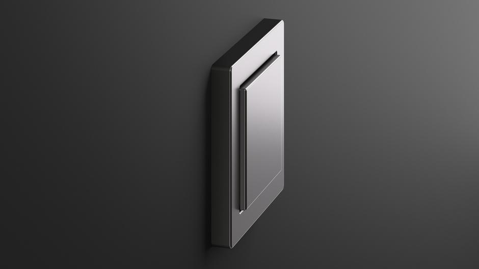 Edles Material, edler Blickfang auf der Wand: die Schalterserie E2 in Edelstahl.