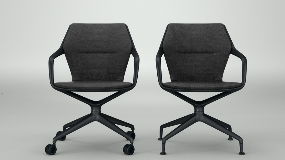 Den komfortablen Konferenzstuhl gibt es wahlweise mit Rollen oder mit Gleitern.