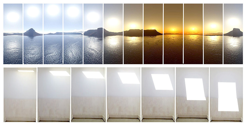 Der Tagesverlauf und die Leuchte im Detail, Fotos: Sofia Souidi