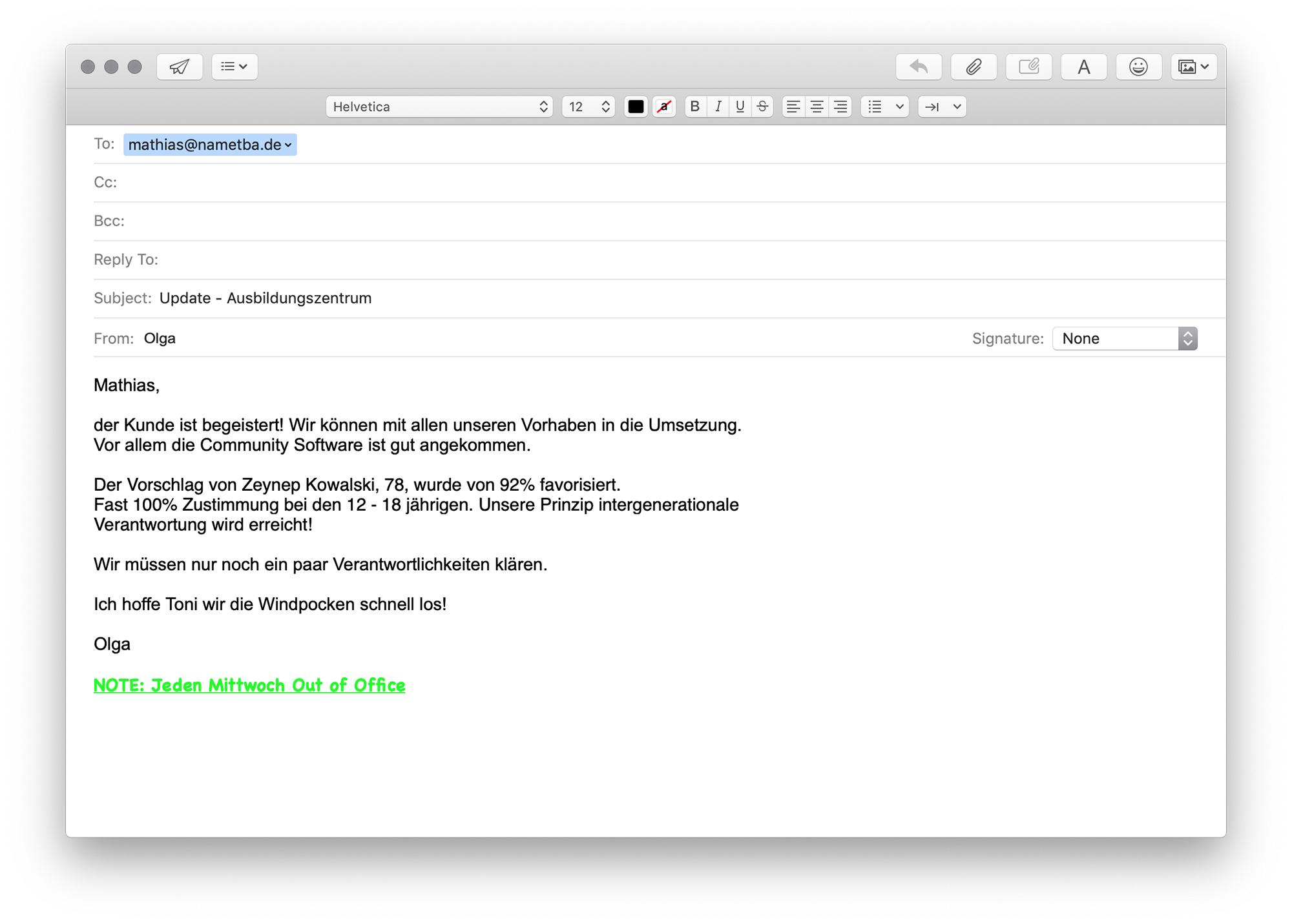 Email, Betreff: Update - Ausbildungszentrum, von olga@nametba.de and mathias@nametba.de