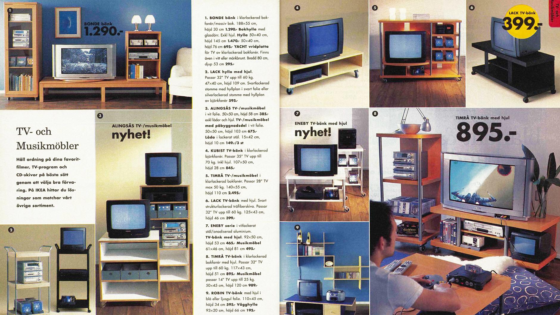 Auch die Röhren brauchten einen Ort zum Wohnen. TV-Möbel waren 2000 noch eine eigene Kategorie, heute findet sich an ihrer Stelle vielleicht mal ein Laptop-Tablett. @IKEA Katalog 2000