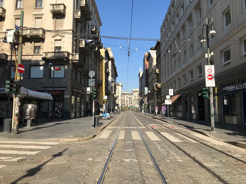 Via Torino (Mailands belebteste Einkaufsstraße), 16.03.2020 gegen 14:25Uhr
