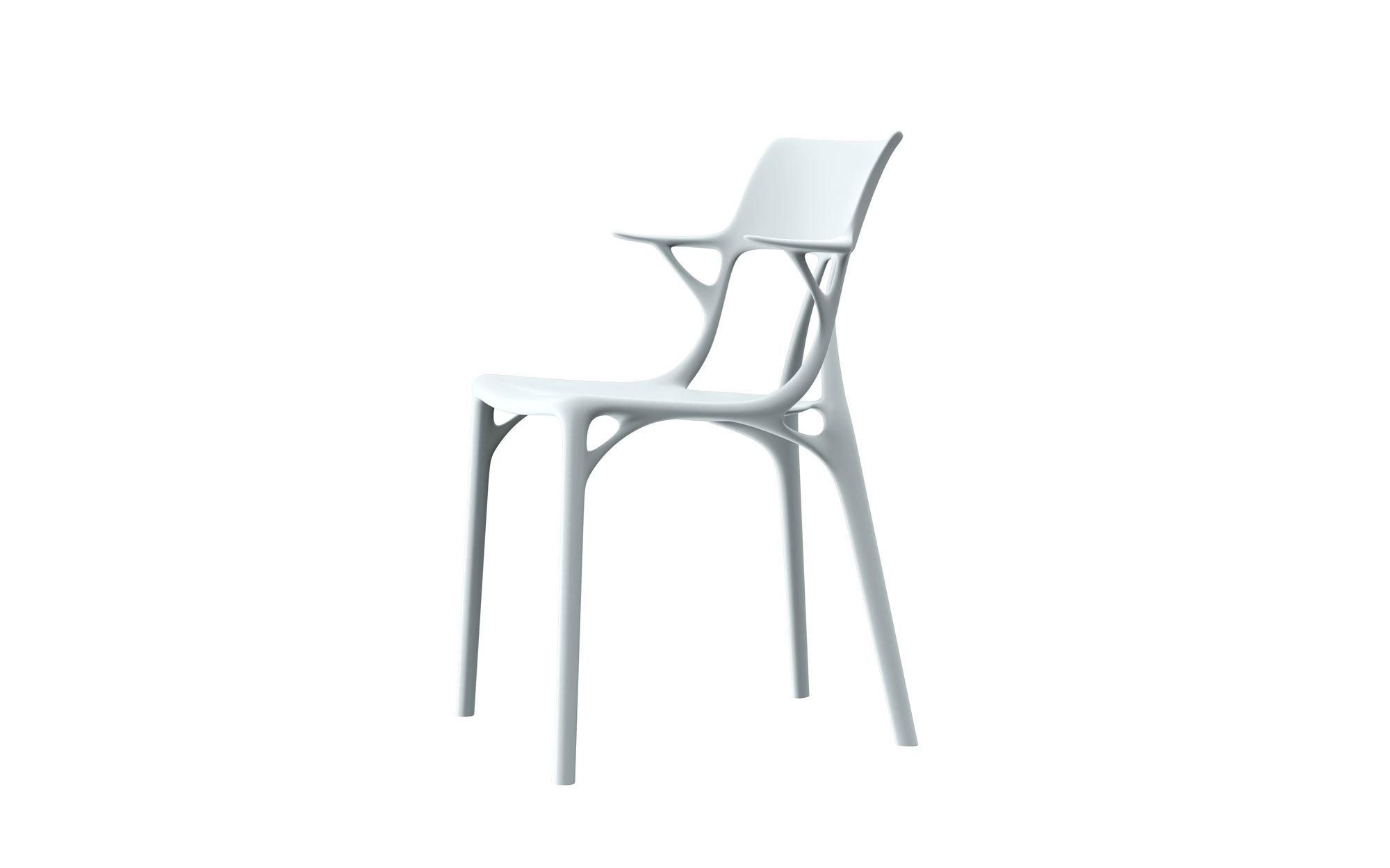 Der Stuhl A.I. wurde von Starck unter Verwendung einer von Autodesk entwickelten Prototyp-Software für generatives Design entworfen.