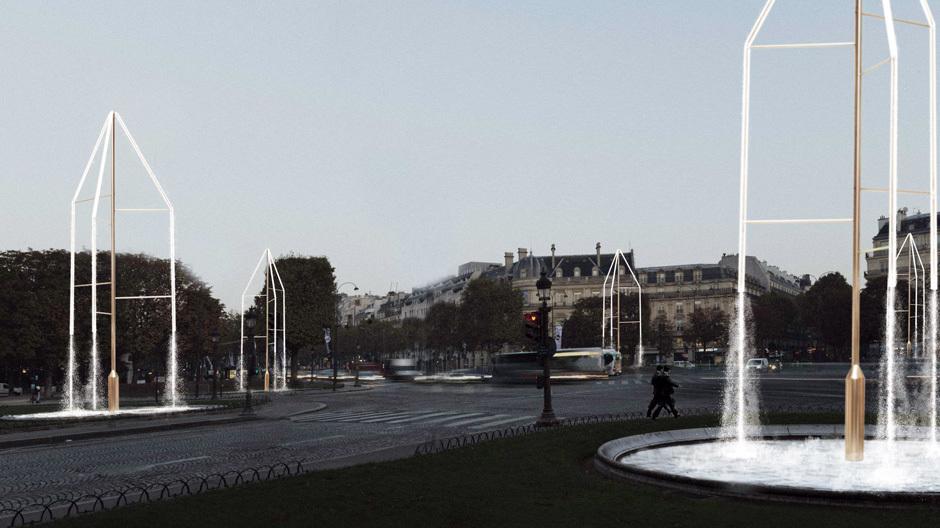 Ab dem 21. März drehen sich auf der Avenue des Champs-Elysées in Paris sechs Brunnen mit funkelnden Kristallen, die von Ronan und Erwan Bouroullec entworfen wurden und zum neuen Wahrzeichen der französischen Hauptstadt werden könnten. Bild: Studio Bouroullec