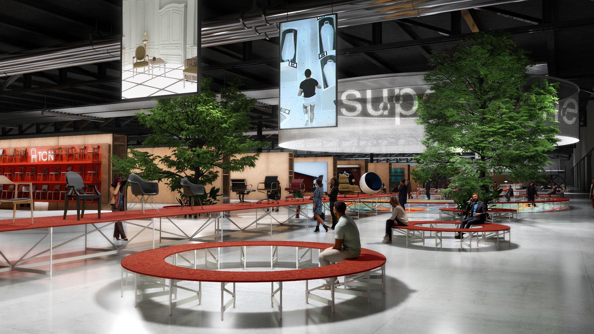 """Auf dem Supersalone wird Three+One für die Gestaltung der """"social spaces"""" der Messe verwendet: Orte zum Ausruhen oder Business Lounges, Food Courts und Magazinstände. Visualisierung: iSaloni"""