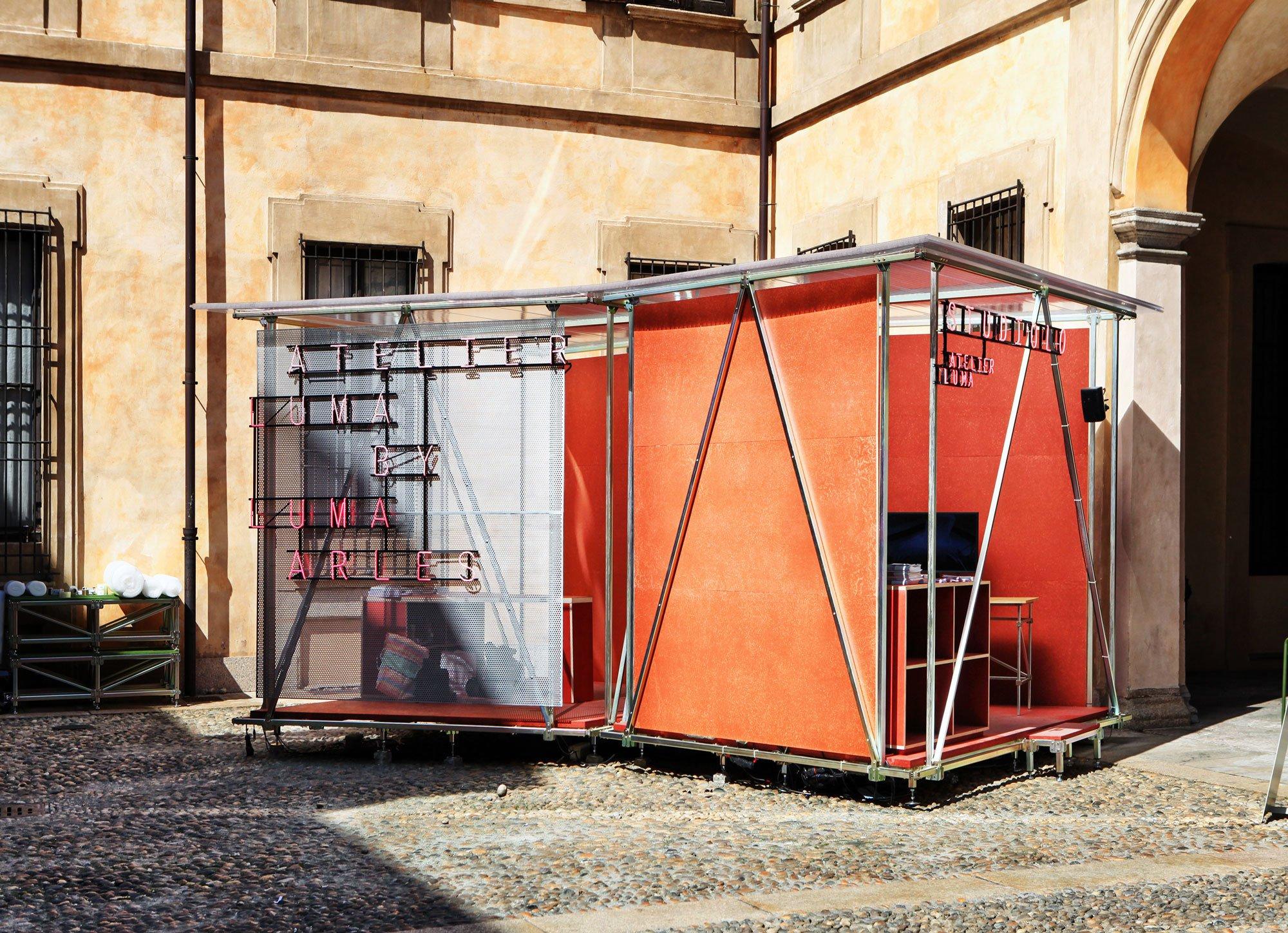 Pavillon für Atelier LUMA, LUMA Arles, im Hof des Palazzo Clerici im Rahmen des Mailänder Salone del Mobile 2018. Foto: Studio Lukas Wegwerth