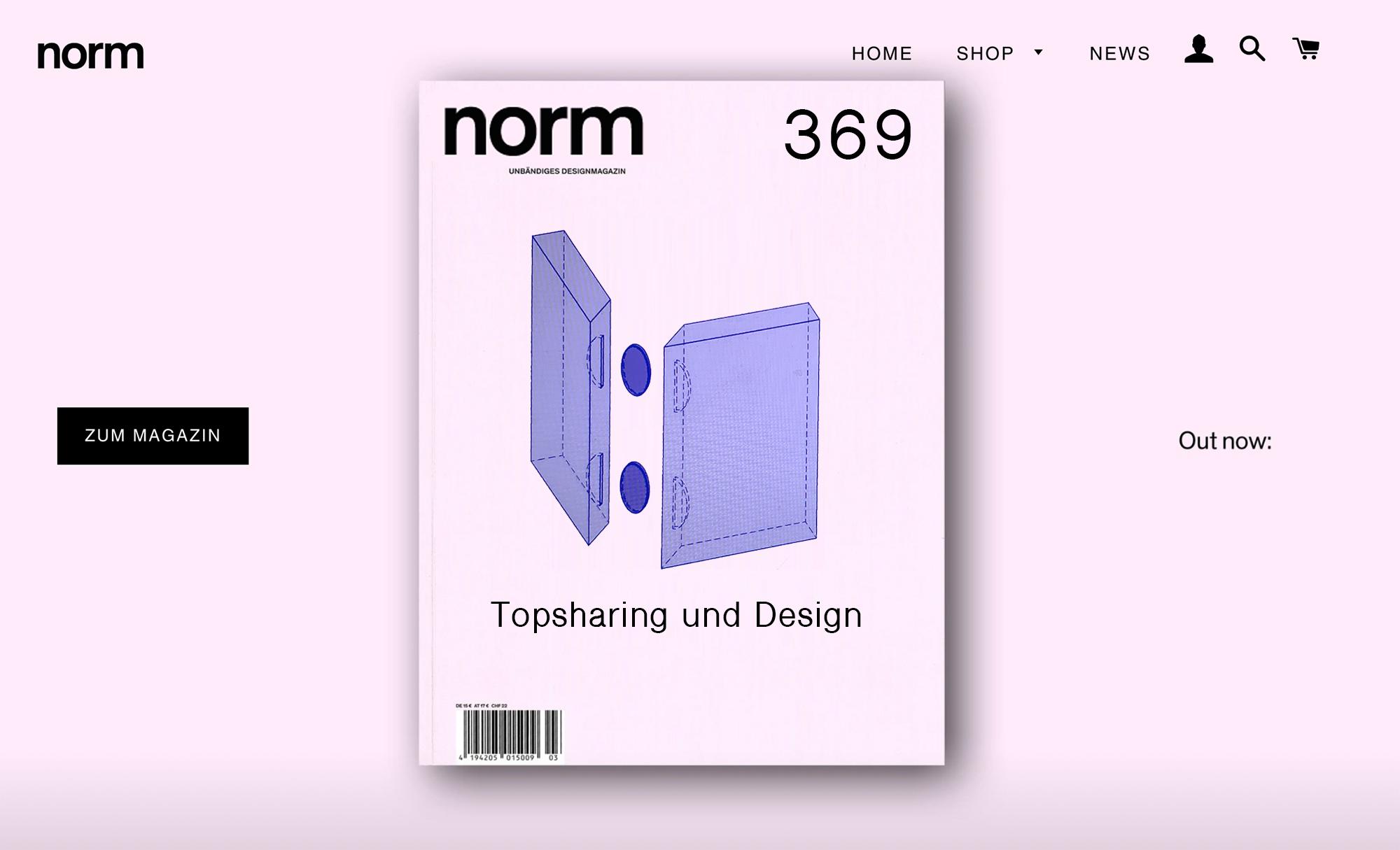 Ausgabe 369, Norm Magazin, Topsharing und Design, Oktober 2040