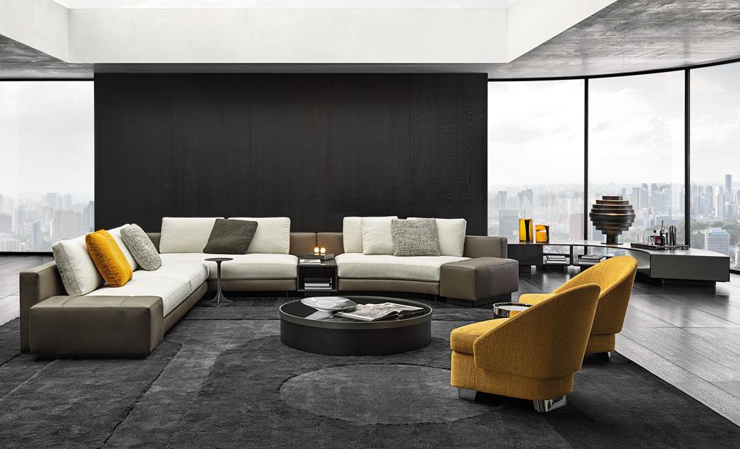 Gelbe Spots: Sofaprogramm Daniels von Christophe Delcourt, Sessel Lawson von Rodolfo Dordoni, beides von Minotti. Foto: Minotti