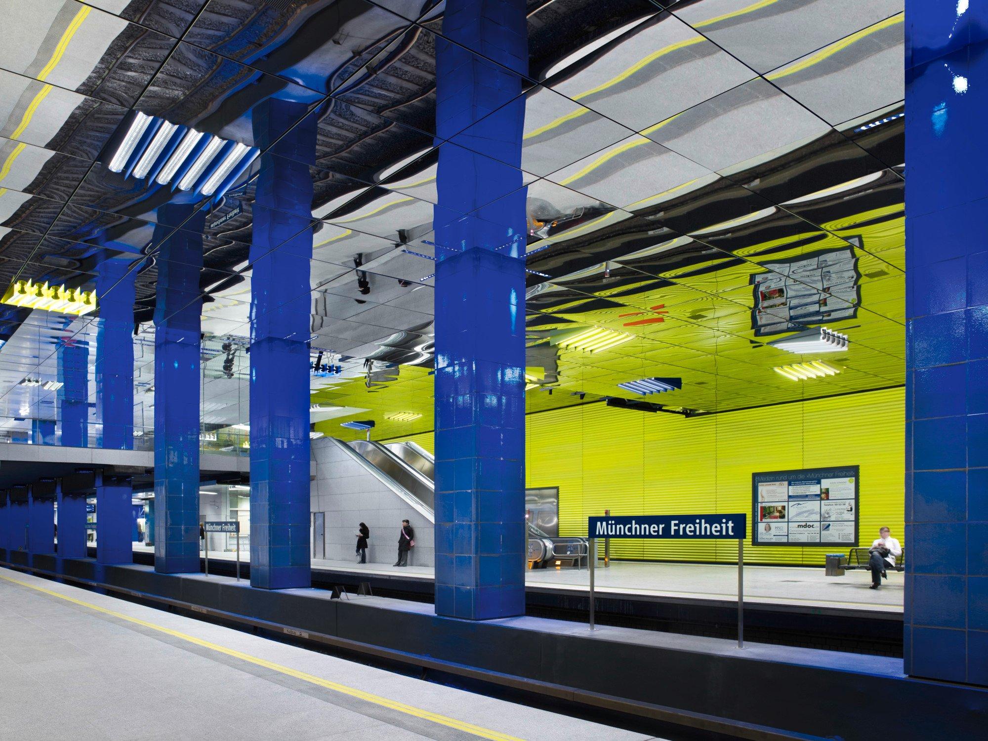 U-Bahnhof Münchner Feiheit, Lichtdesign Ingo Maurer, 2007
