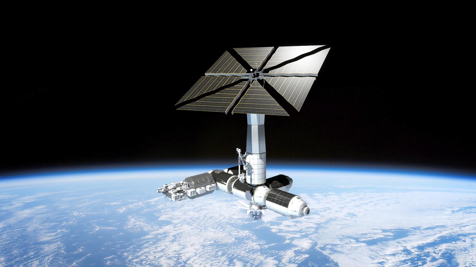 2018 stellt Axiom Space die kommerzielle Raumstation Axiom Space Stationvor. Bildcredit: Axiom Space