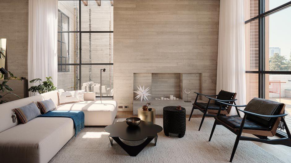 Roher Beton formt die markante Fassade des Tennyson 205 in Mexiko-Stadt. Im Innern der beiden Apartments des Neubaus von Studio Rick Joy verblüfft das poetische Zusammenspiel aus purer Materialität und natürlichem Licht.