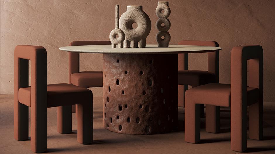 Tisch Ztista mit Tonbasis und Glastop, Sessel Toptun und die Vasenserie Kumanec