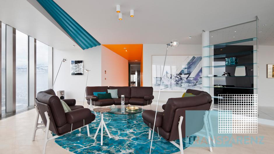Sehr weit oben in Kasachstans höchstem Gebäude liegt das Ritz Apartment, das vom Berliner Designstudio Coordination ausgebaut wurde.