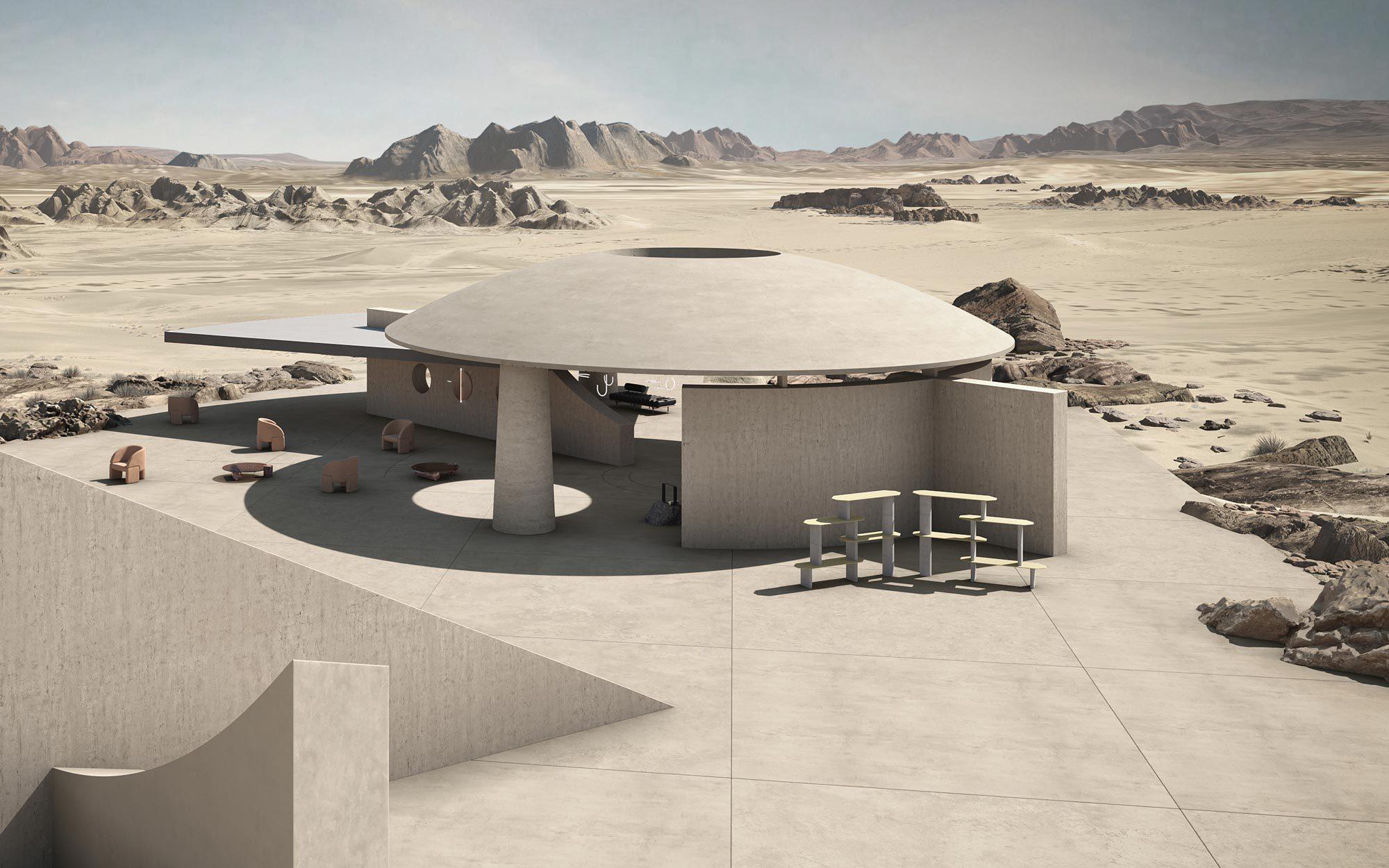 Für das Projekt De-siderio haben Arianna Lelli Mami und Chiara Di Pinto von Studiopepe ein Bauwerk aus Einsen und Nullen errichtet, das in einer virtuellen Wüstenlandschaft steht. (3D Art: Terzo Piano)