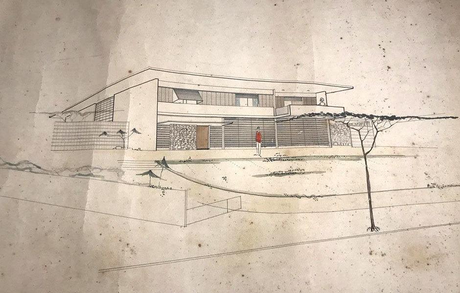 Eine Architekturzeichnung von Casa F aus den Sechzigerjahren.